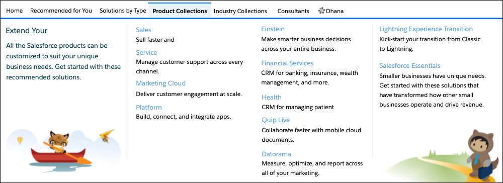 The AppExchange Product Collections submenu