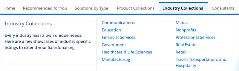 The AppExchange Industry Collections navigation menu