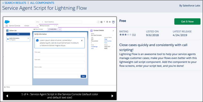 A view of the Service Agent Script for Lightning Flow solution listing on AppExchange