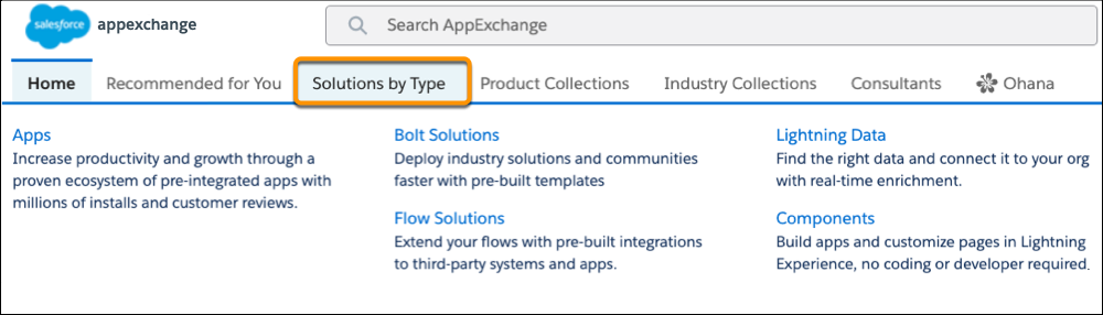 The AppExchange Solutions by Type submenu options are Apps, Bolt Solutions, Flow Solutions, Lightning Data, and Components.