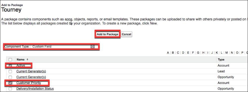 The Package Detail page is where you add custom components and fields to your package.