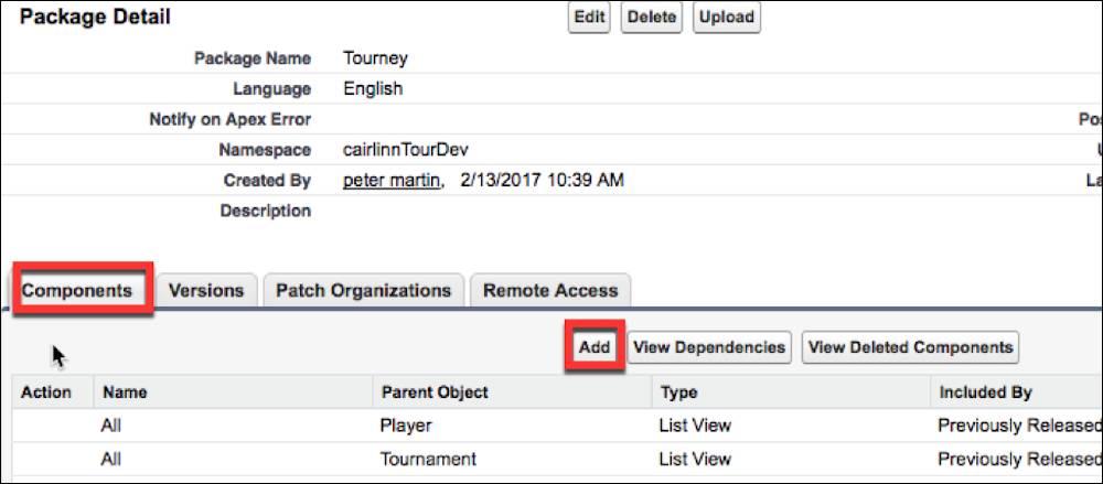 [パッケージの詳細] ページでパッケージにコンポーネントを追加します。