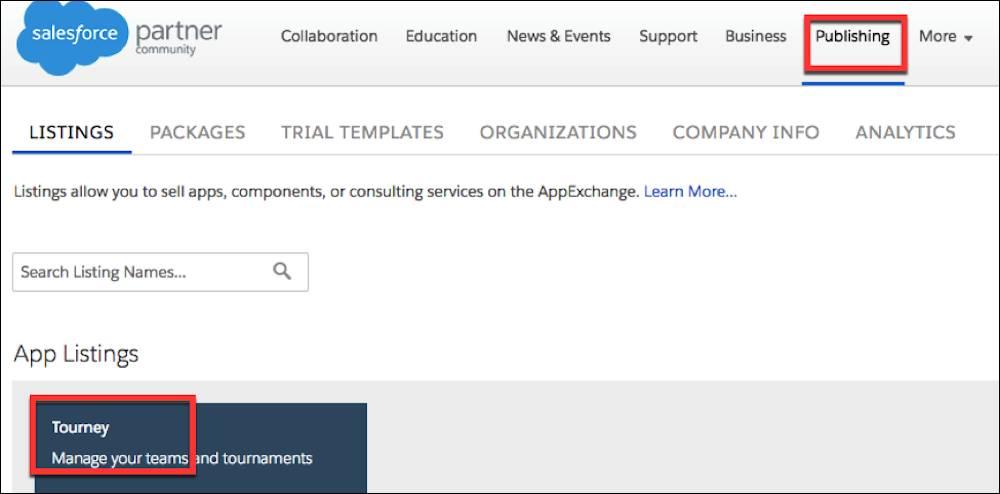 公開コンソールの [リスト] タブでアプリケーションのリストを選択します。