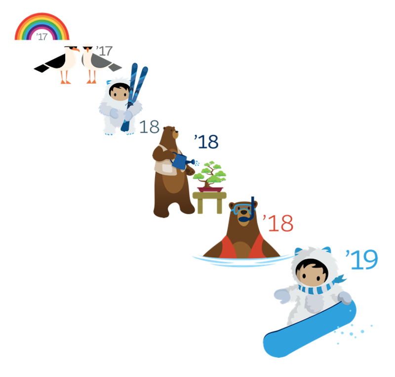 The logos of the myriad Salesforce releases that have shown our customers the promise of SaaS.
