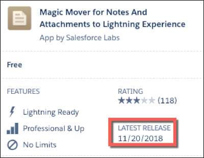 An AppExchange listing with a red square around the latest release date