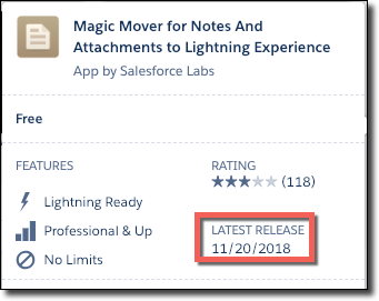 An AppExchange listing with a red circle around the latest release date