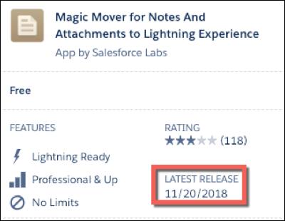 AppExchange リスト。最新リリース日が赤枠で囲まれています。
