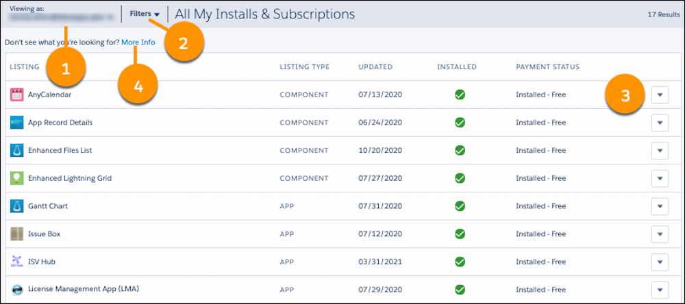 The All My Installs & Subscriptions window with highlights on Viewing as (1), Filters (2), Show More (3), and More Info (4)