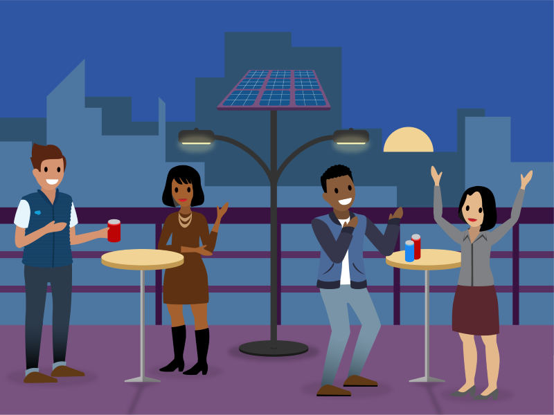 Ursa Major employees at a party in an outdoor, solar-powered pavilion