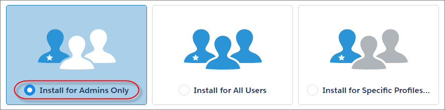 A view of the Install for Admins Only option selected in the installation flow.