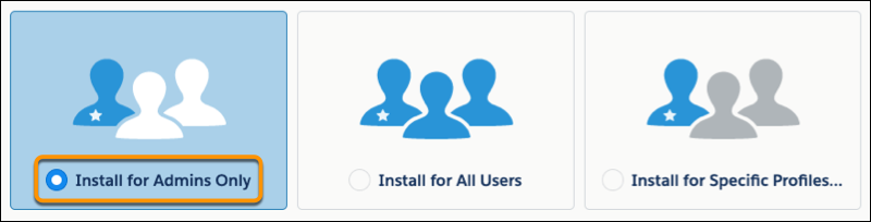 A view of the Install for Admins Only option selected in the installation flow