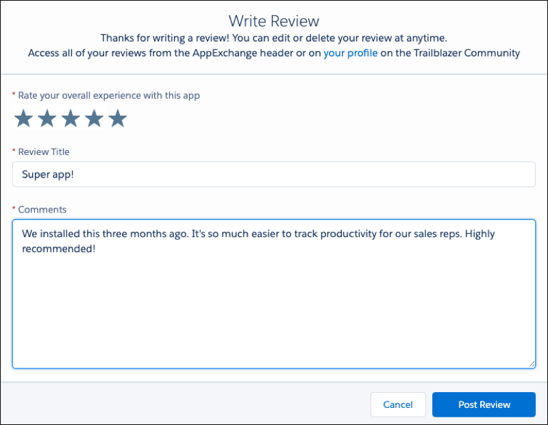 A view of a user adding a review to an AppExchange listing.