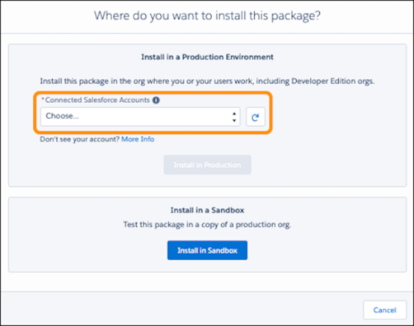The Where do you want to install this package? window with a highlight on the AppExchange Account Picker