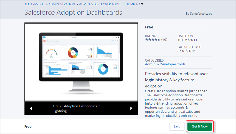A view of the Get It Now button on the Adoption Dashboards listing.