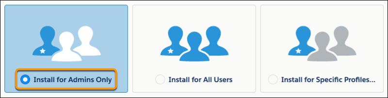 Exibição da opção Instalar apenas para administradores selecionada no fluxo de instalação
