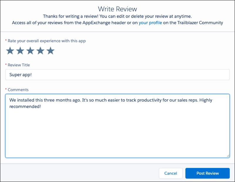 Exibição de usuário adicionando uma resenha a uma oferta do AppExchange.