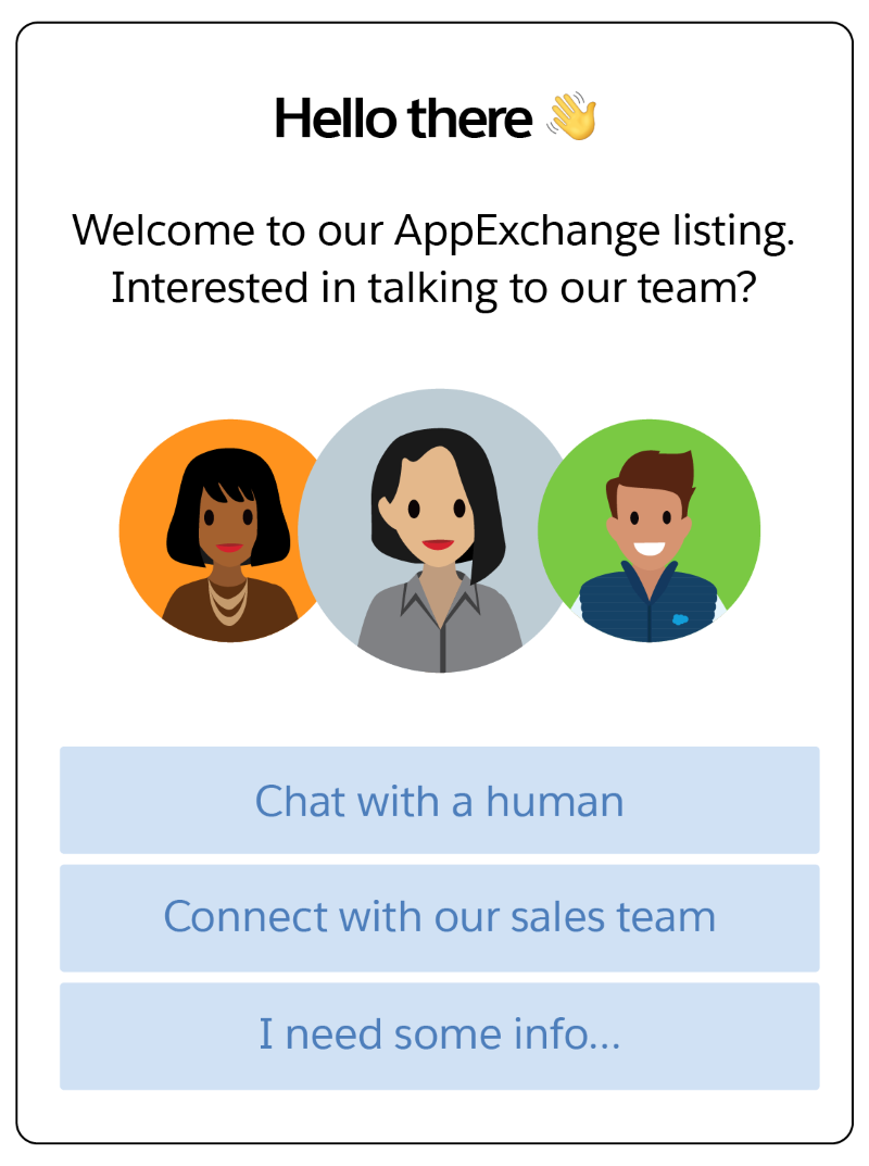 A sample Chat window with Chat with a human, Connect with our sales team, and I need some info... browsing buttons
