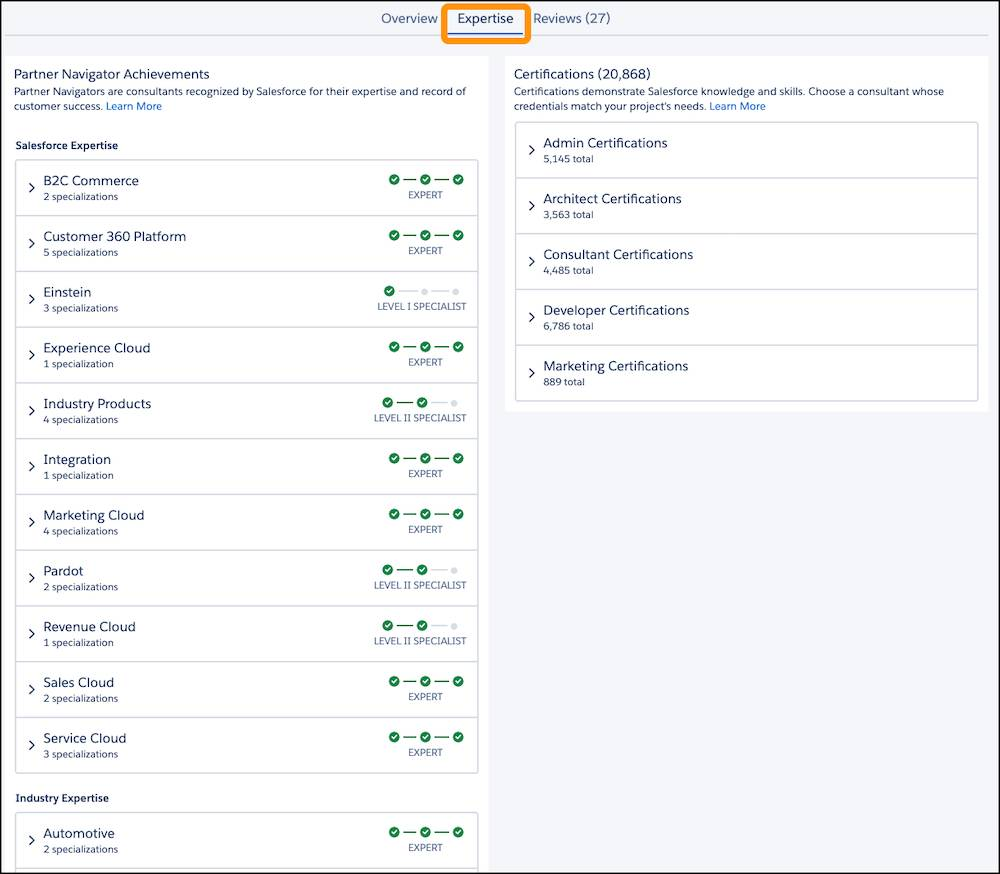 An example consultant Expertise tab on an AppExchange listing