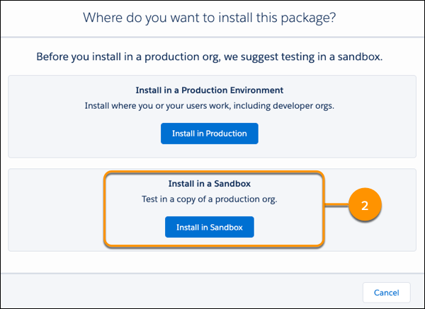 A view of the install button for an AppExchange listing.