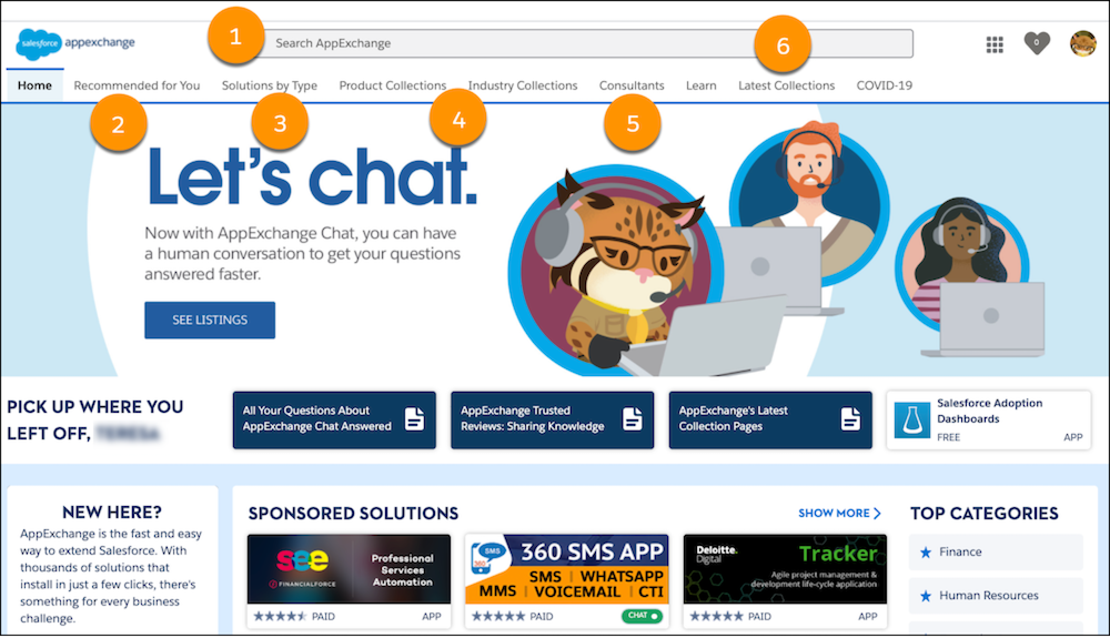 A view of the search box and the top-level navigation menu on the AppExchange home page