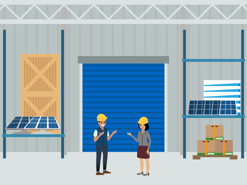 Two Ursa Major employees in a solar panel factory and one holding a tablet with Salesforce and AppExchange