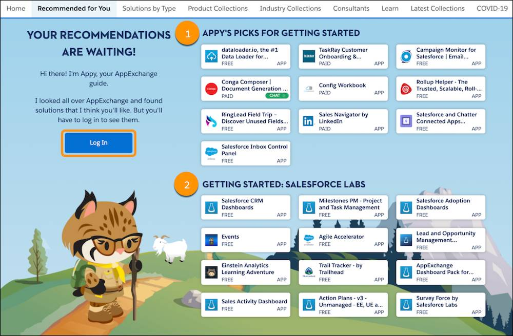 The Recommended for You page showing Appy's Picks for Getting Started and Getting Started: Salesforce Labs recommendations
