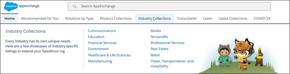 A sample Industry Collections submenu