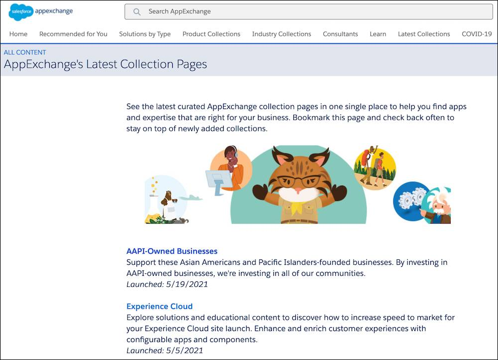 A sample of AppExchange's Latest Collection Pages