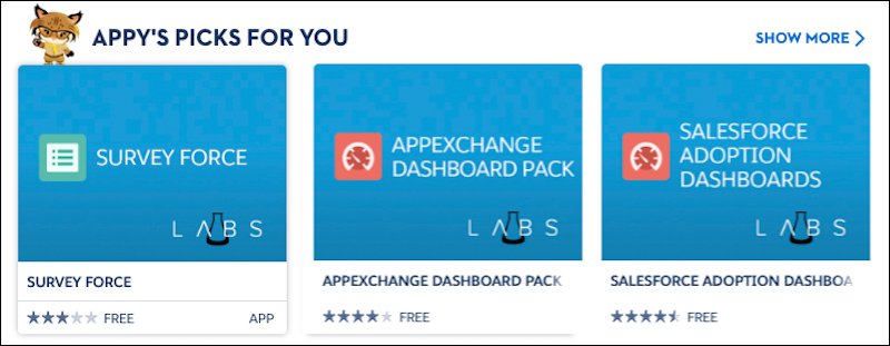 A view of the Appy's Picks for You section on the AppExchange home page