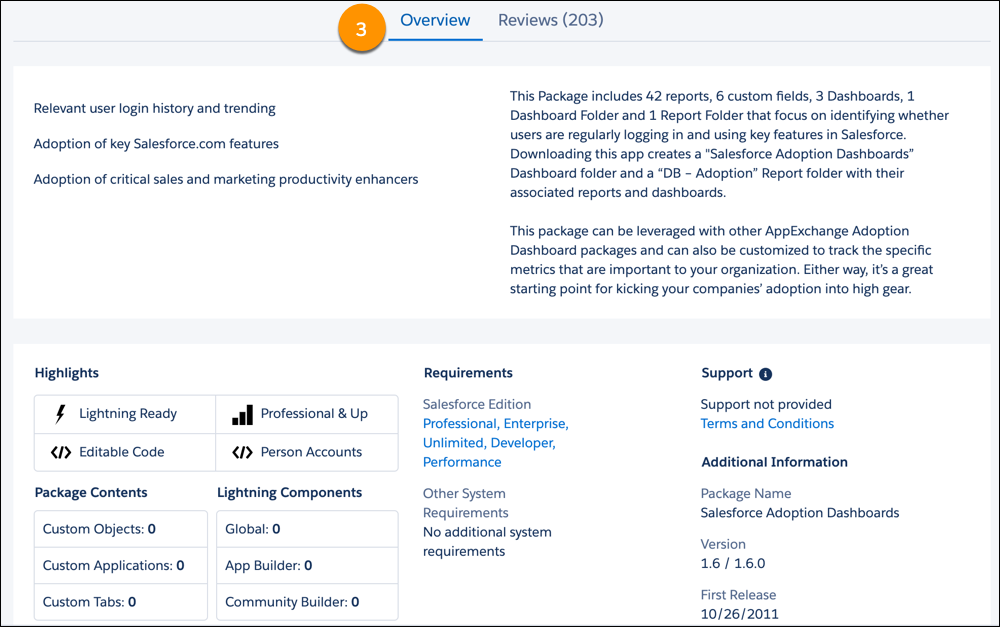 A view of the Overview tab on an AppExchange listing