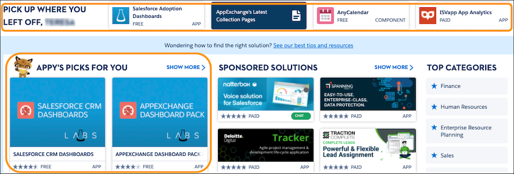 A view of the Pick Up Where You Left Off and Appy's Picks For You sections on the AppExchange home page