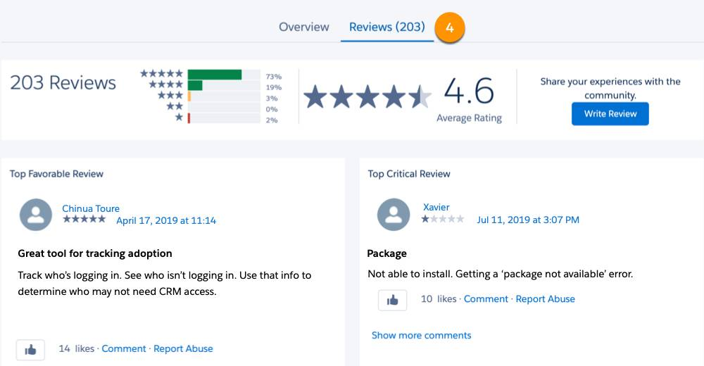 A view of the Reviews tab on an AppExchange listing
