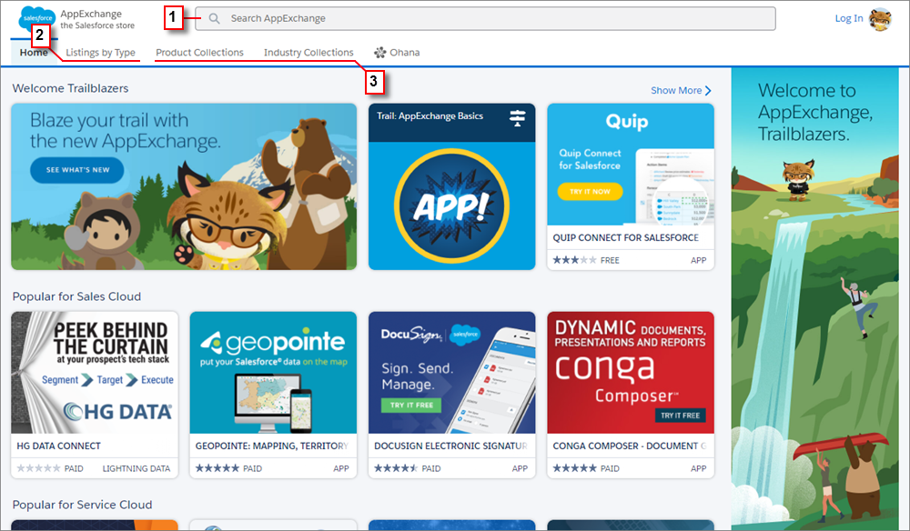 A view of store tabs, search box, filter and sort menus, and navigation menu on the AppExchange homepage.