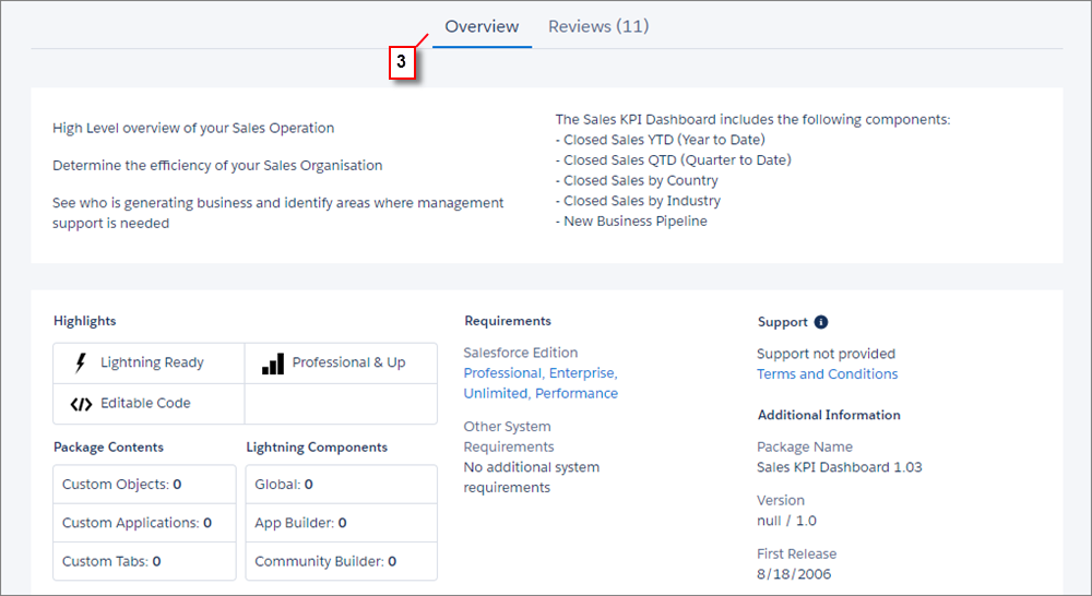 A view of the Overview tab on an AppExchange listing.