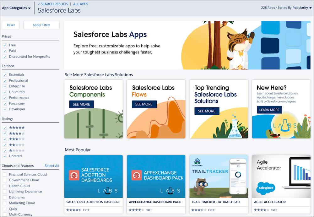 The Salesforce Labs Apps page with listing tiles