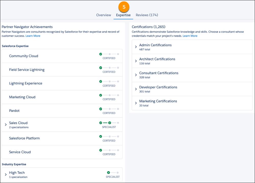 Exibição da guia Expertise em uma oferta do AppExchange