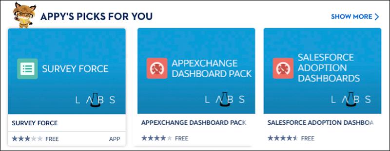 """Exibição da seção """"Escolhas do Appy para você"""" na página inicial do AppExchange"""