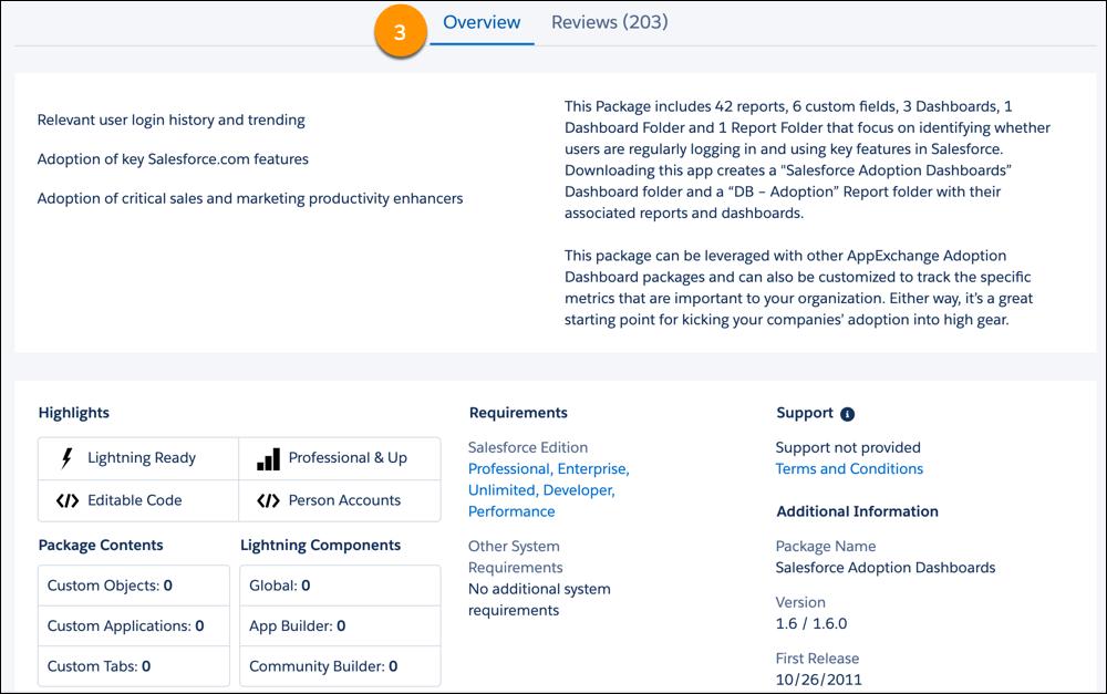 Exibição da guia Visão Geral em uma oferta do AppExchange
