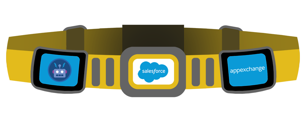 A representation of AppExchange as a superhero's utility belt