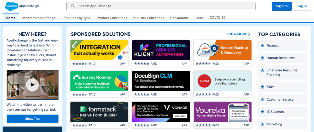 A view of the AppExchange home page