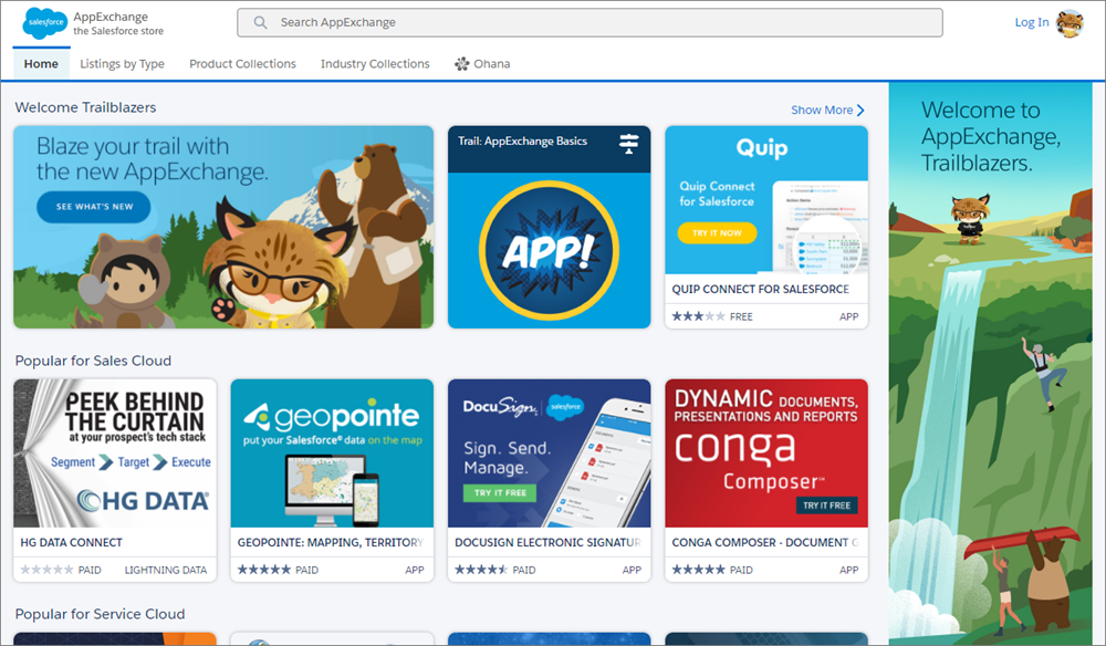 A view of the AppExchange home page.