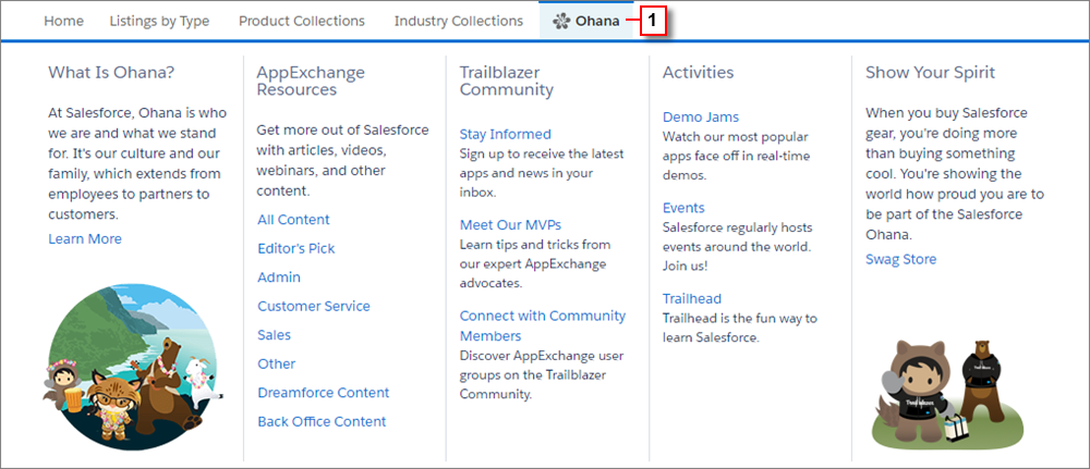 A view of the Ohana tab on the AppExchange homepage.