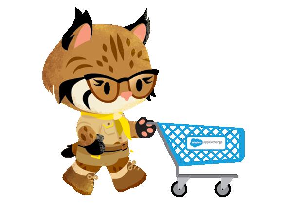 Vue d'Appy qui fait ses courses dans la boutique AppExchange