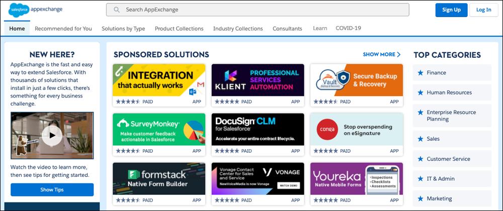 Uma exibição da página inicial do AppExchange