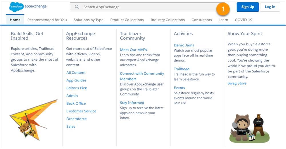Exibição da guia Aprender na página inicial do AppExchange