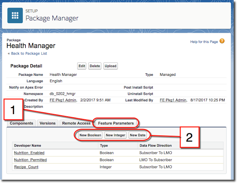 The Feature Parameters tab of the Package Manager, where you define a feature parameter