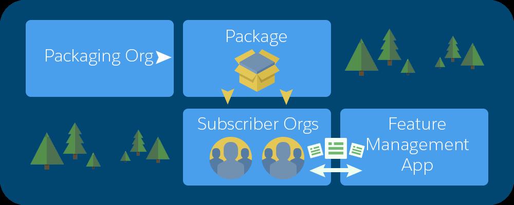 FMA を使用して LMO、登録者組織、パッケージ組織間で機能パラメータが渡される方法を示す図
