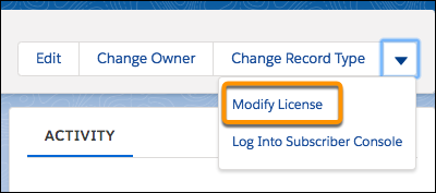 The Modify License menu option