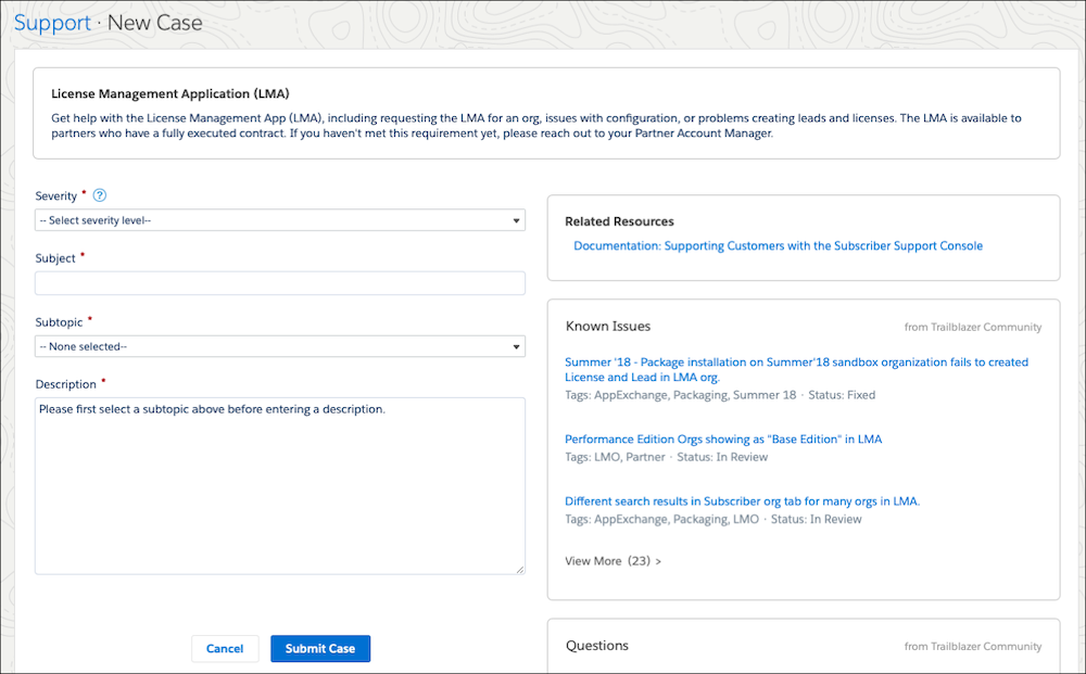 The Salesforce Partner Community form that partners submit to get help with the License Management App