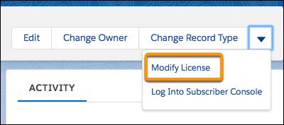 [Modify License (ライセンスの変更)] メニューオプション
